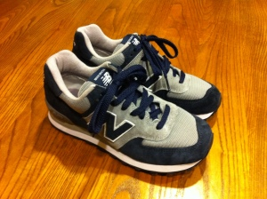 Custom New Balance running shoes Georgetown University blue and grey.